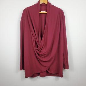 Pure Jill Burgundy Wrap Cardigan Women's Size L